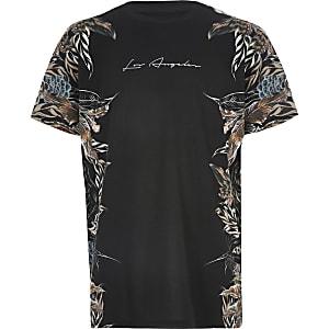Zwart T-shirt met verenprint voor jongens