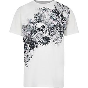 Wit T-shirt met doodshoofdprint en korte mouwen voor jongens