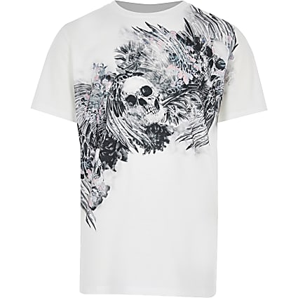 Boys white skull print short sleeve T-shirt