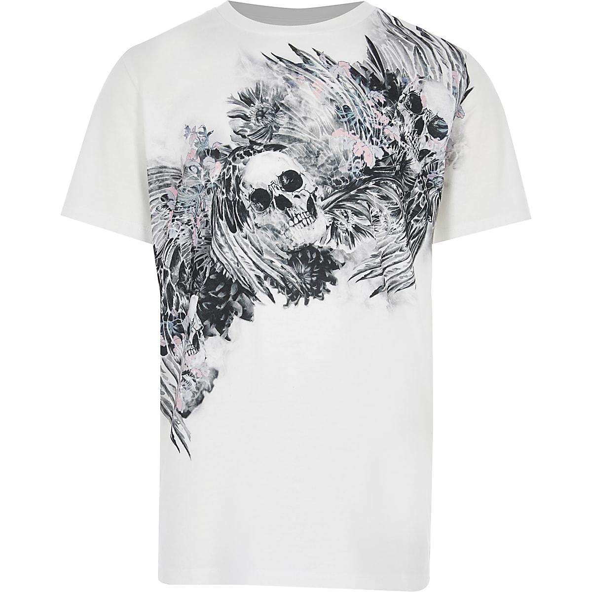 T-shirt imprimé tête de mort blanc à manches courtes pour garçon
