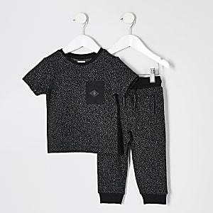 Mini – Strukturiertes T-Shirt-Outfit in Schwarz für Jungen
