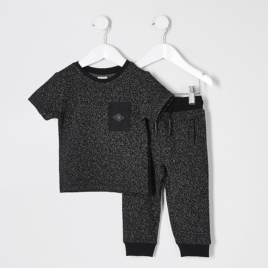Mini boys black textured T-shirt outfit