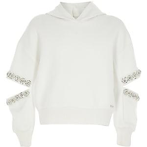 Weißer Hoodie mit Schlitz und Verzierung am Ärmel für Mädchen