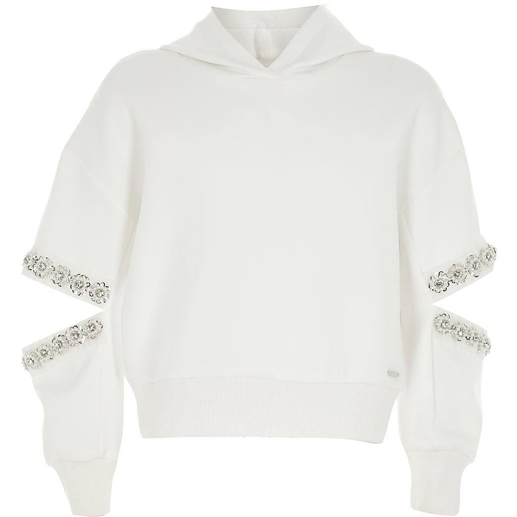 Girls white split embellished sleeve hoodie