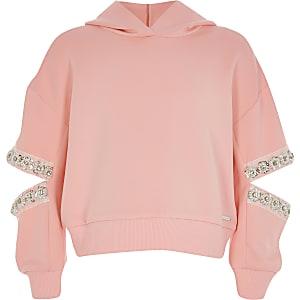 Koraalkleurige hoodie met gespleten verfraaide mouwen voor meisjes