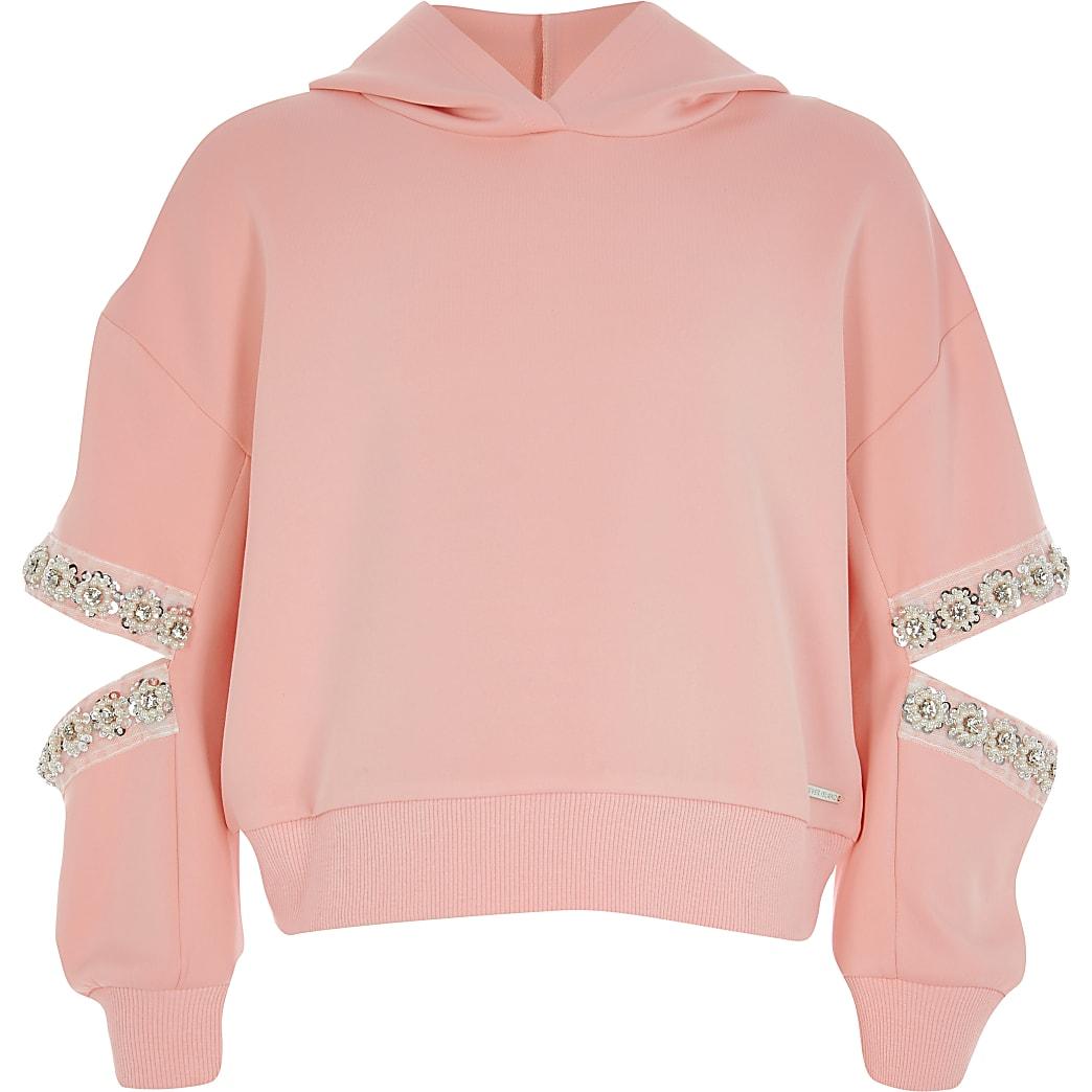 Girls coral split embellished sleeve hoodie