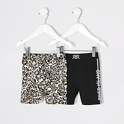 Mini girls beige print cycling shorts 2 pack