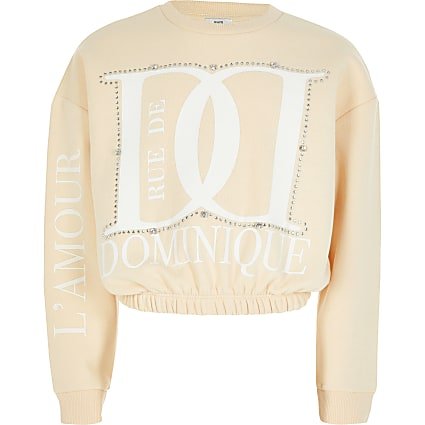 Cream 'Dominique' diamante sweatshirt