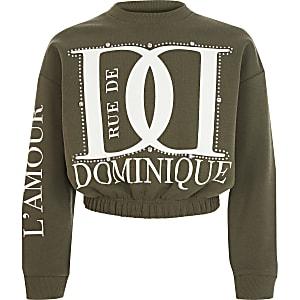 Kaki sweater met print en siersteentjes voor meisjes
