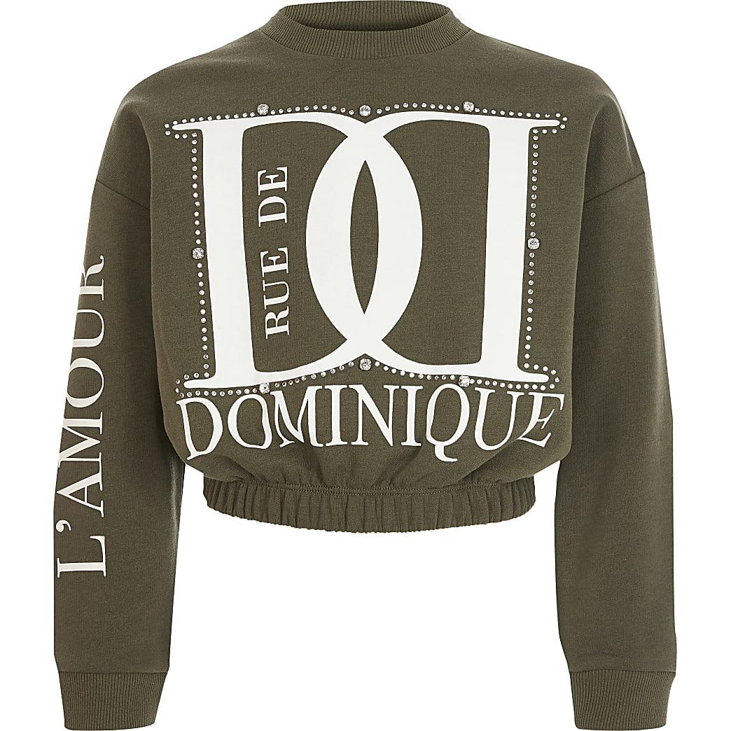 Girls khaki printed diamante sweatshirt