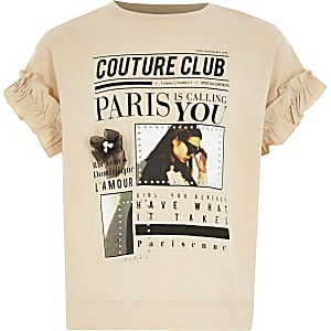 T-shirt beige impriméavecmanchesà volants pour fille