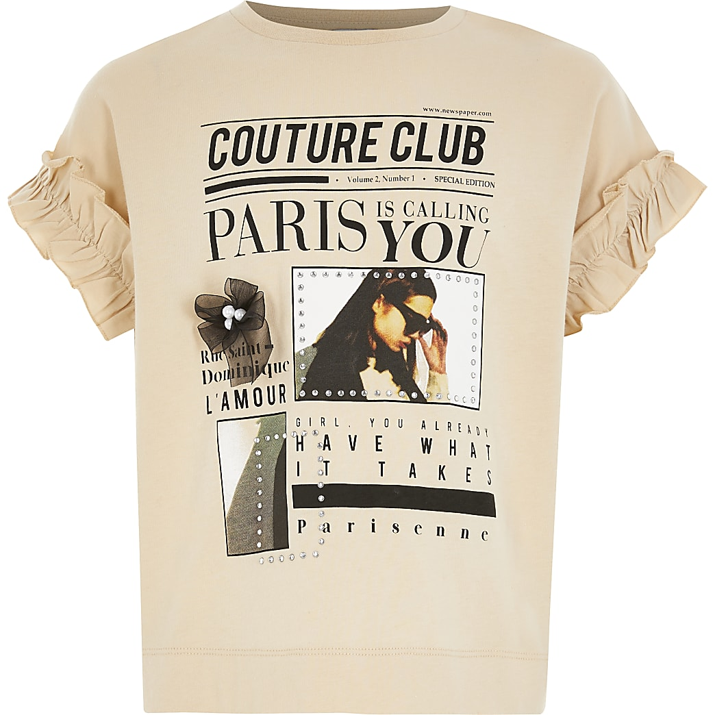 Girls beige printed frill sleeve T-shirt