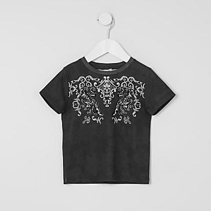 Mini boys black flock baroque T-shirt