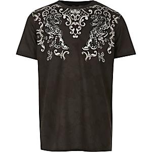 Schwarzes, geflocktes T-Shirt für Jungen mit Barockmuster