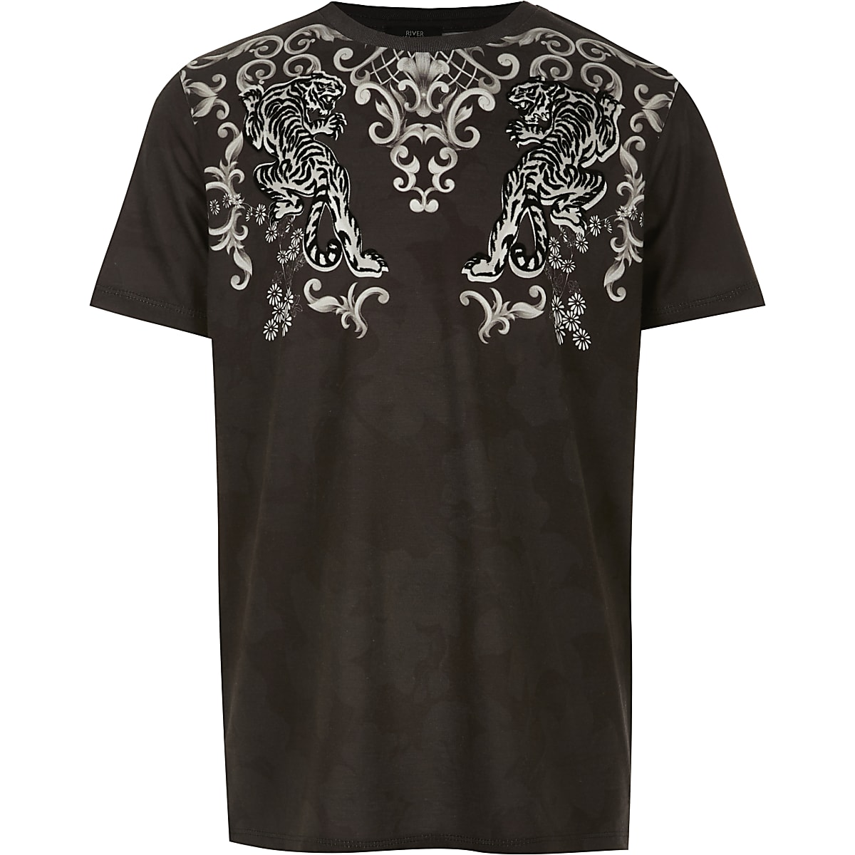 Boys black baroque flock T-shirt