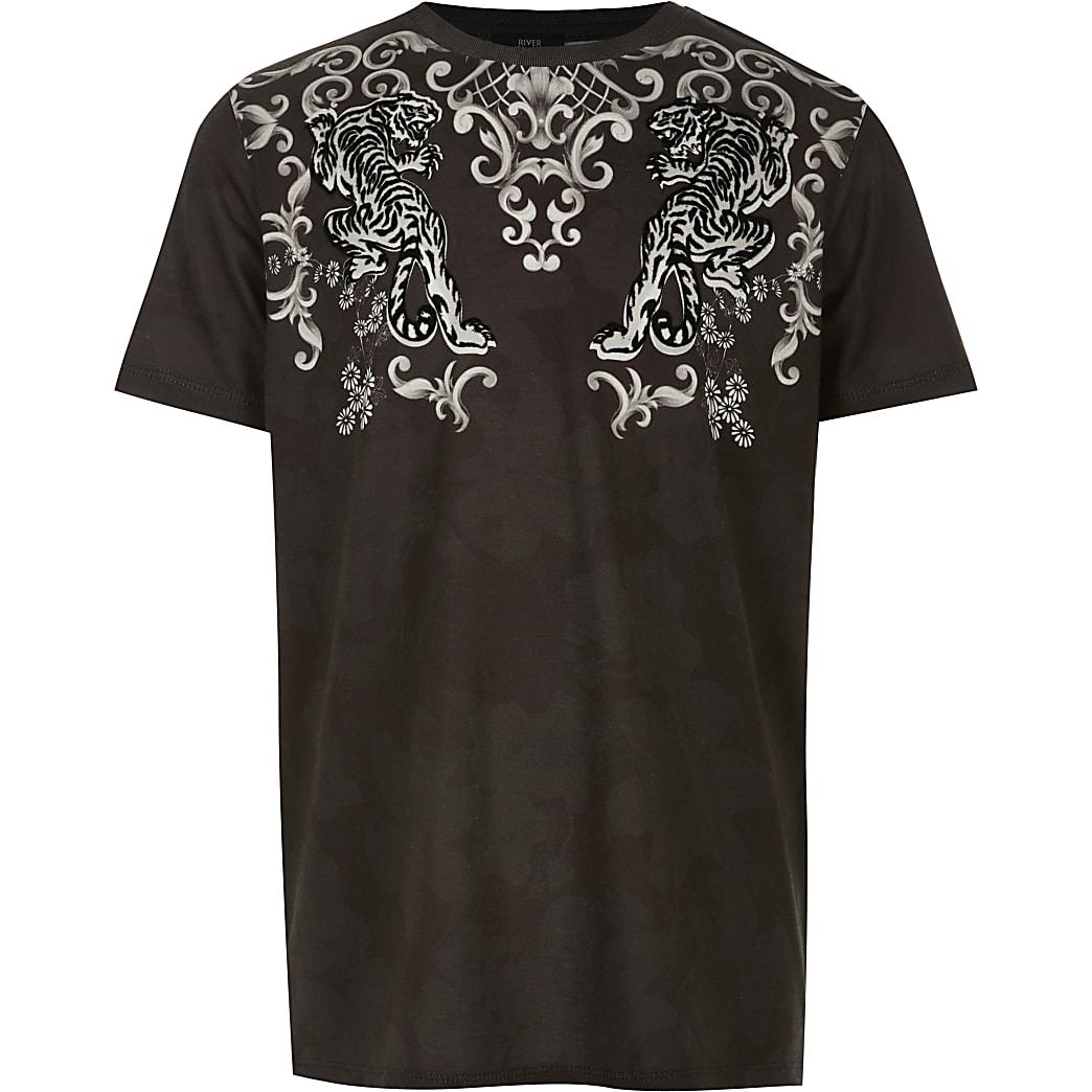 Boys black baroque flock T-shirt