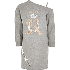 Graues One-Shoulder-Sweaterkleid für Mädchen