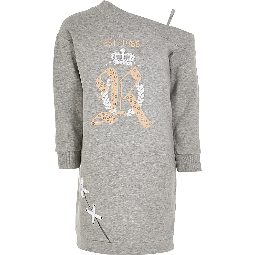 Grijze sweaterjurk met ontblote schouder RI-print voor meisjes