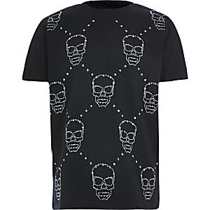 Zwart verfraaid T-shirt met doodshoofdprint voor jongens