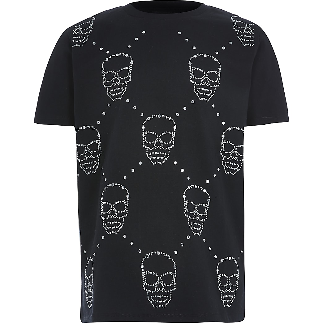 Boys embellished skull print black T-shirt