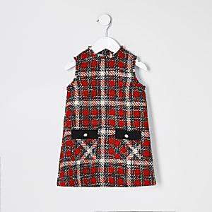 Kariertes, rotes Bouclé-Latzkleid für kleine Mädchen