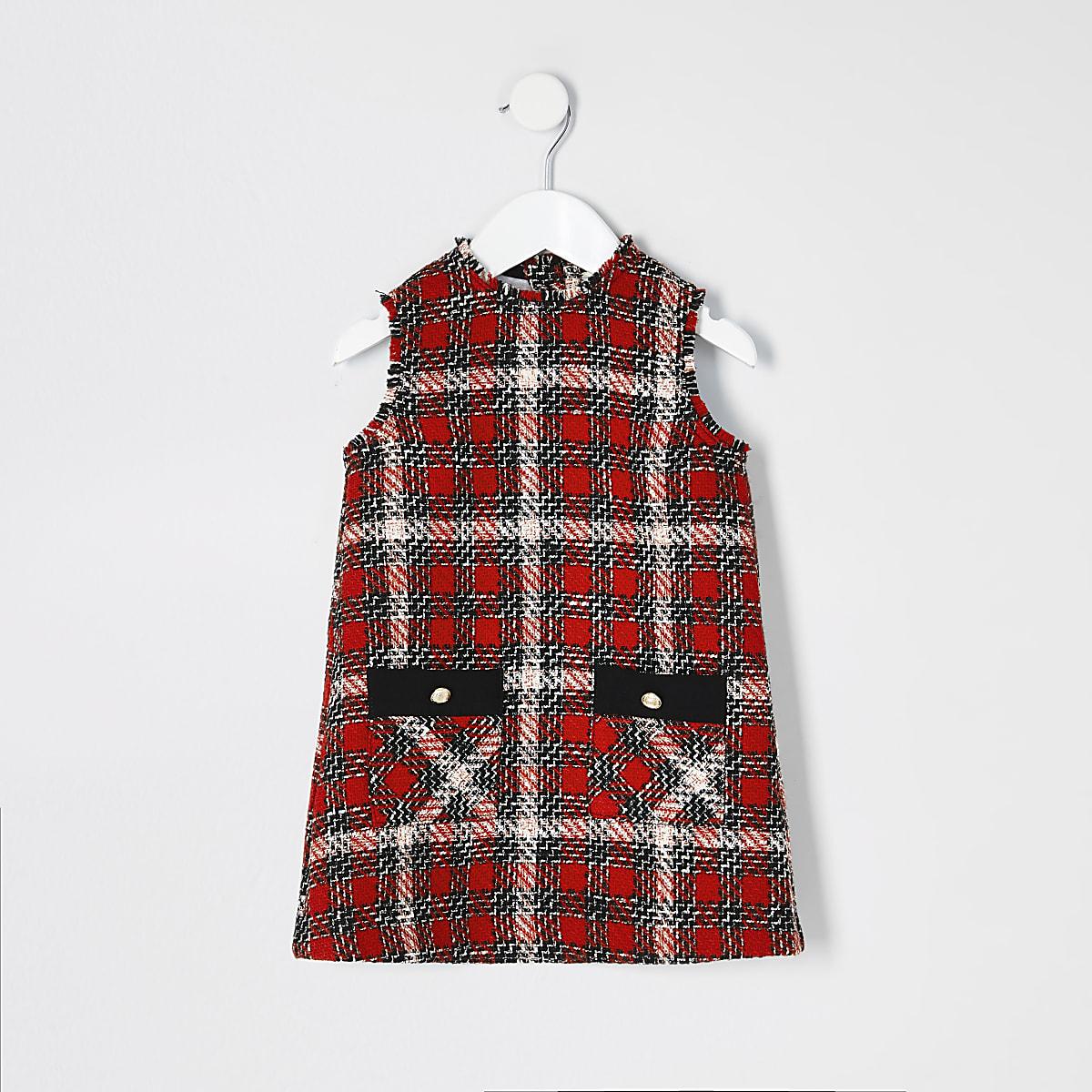 Mini girls red boucle check pinafore dress