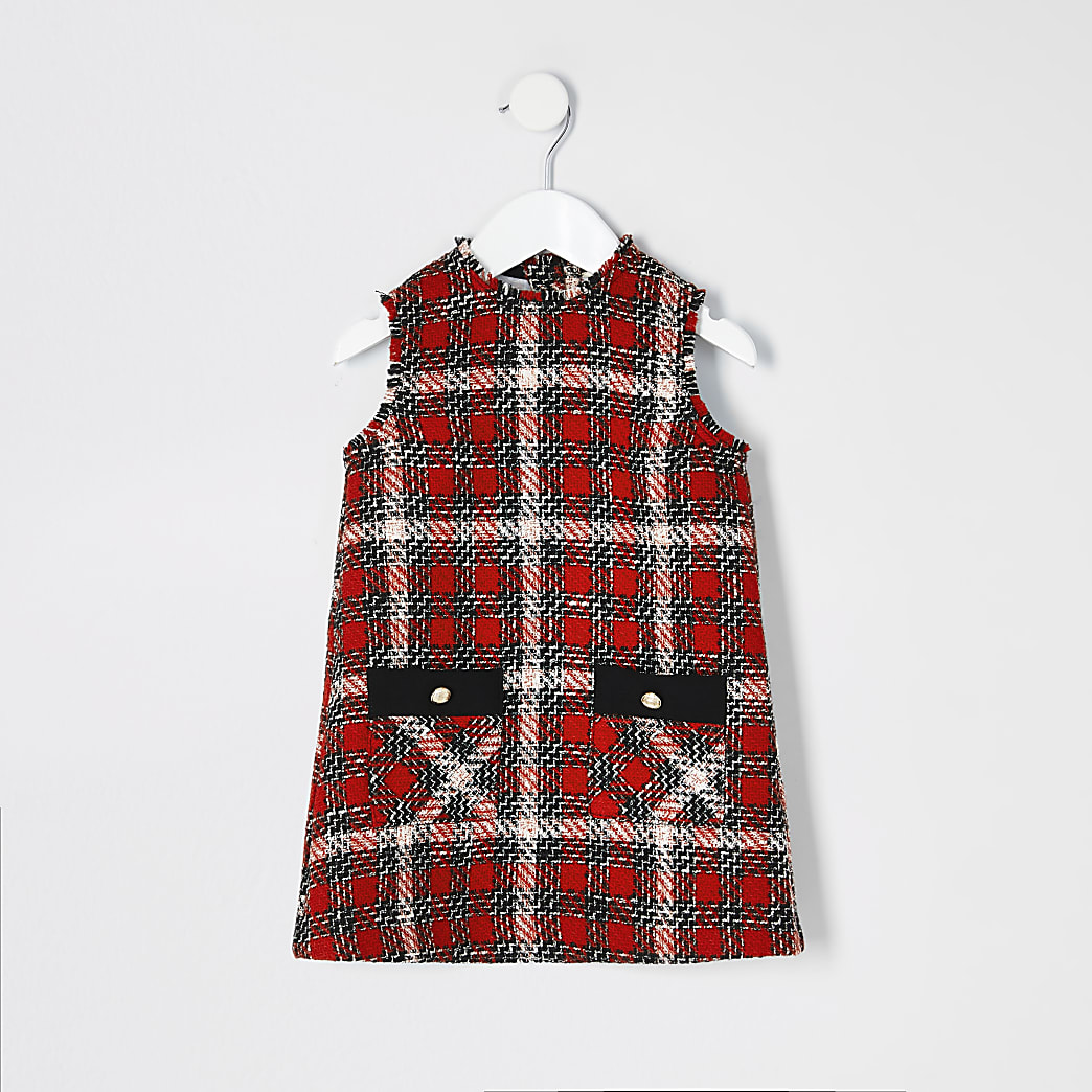 Mini girls red boucle check pinafore dress