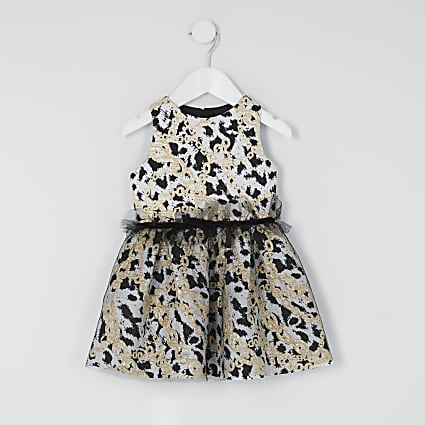 Mini girls chain print mesh black prom dress