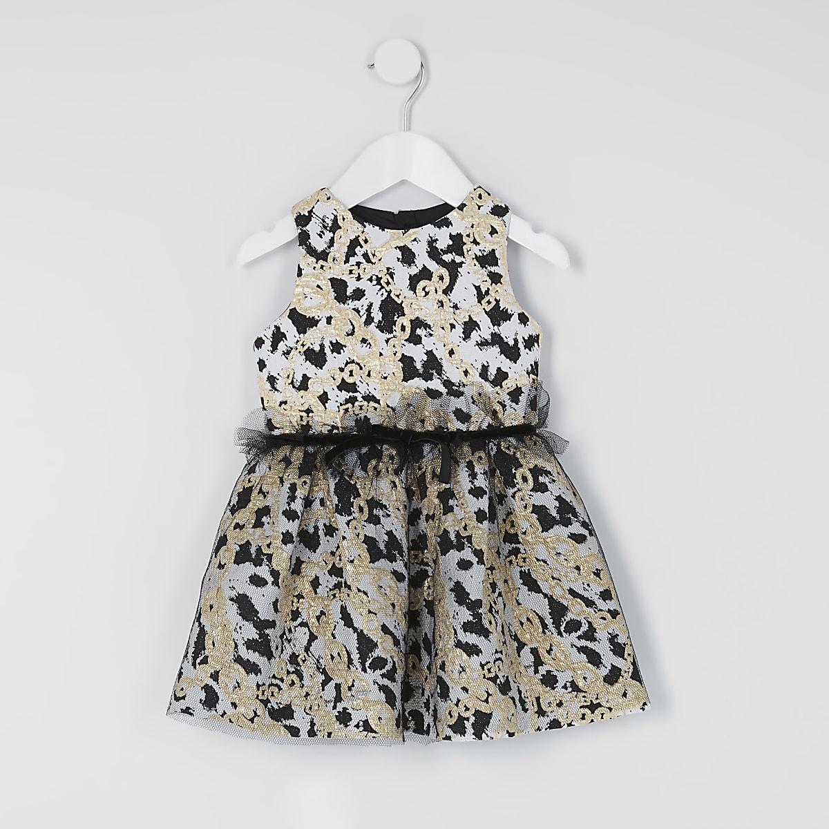Mini girls chain print mesh black prom dress