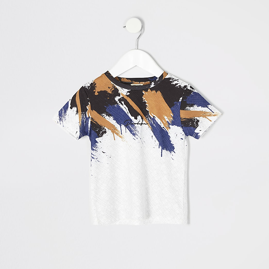 Mini boys white Prolific print T-shirt
