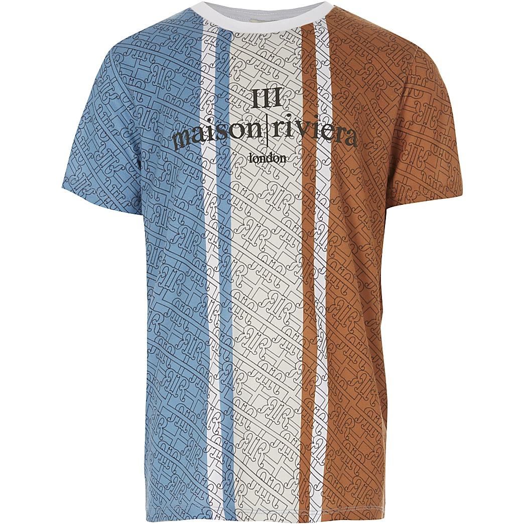 Maison Riviera – Blaues T-Shirt für Jungen in Blockfarben