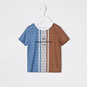 Mini – Maison Riviera – Blaues T-Shirt mit Print für Jungen