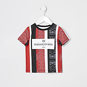 Mini - Rood bandanagestreept T-shirt met print voor jongens