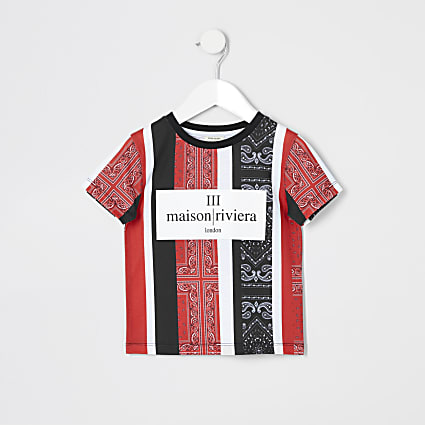Mini boys red bandana stripe print T-shirt