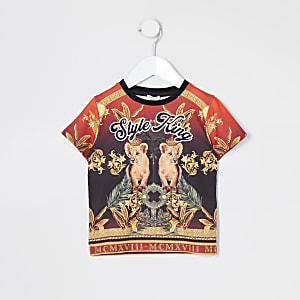 Mini - Rood T-shirt met 'Style king'-tekst voor jongens