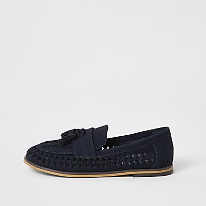 Boys navy woven tassel loafers