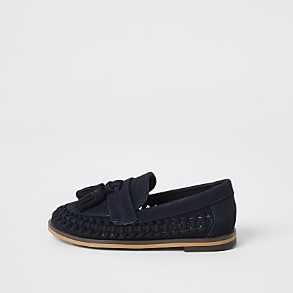 Mini boys navy woven tassel loafers