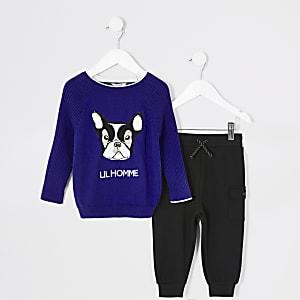 Mini - Blauwe trui outfit met 'Lil Homme'-tekst voor jongens