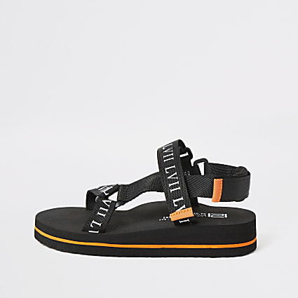 Boys black 'LVII' velcro sandals