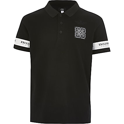 Boys black 'Exclusive' tape polo shirt