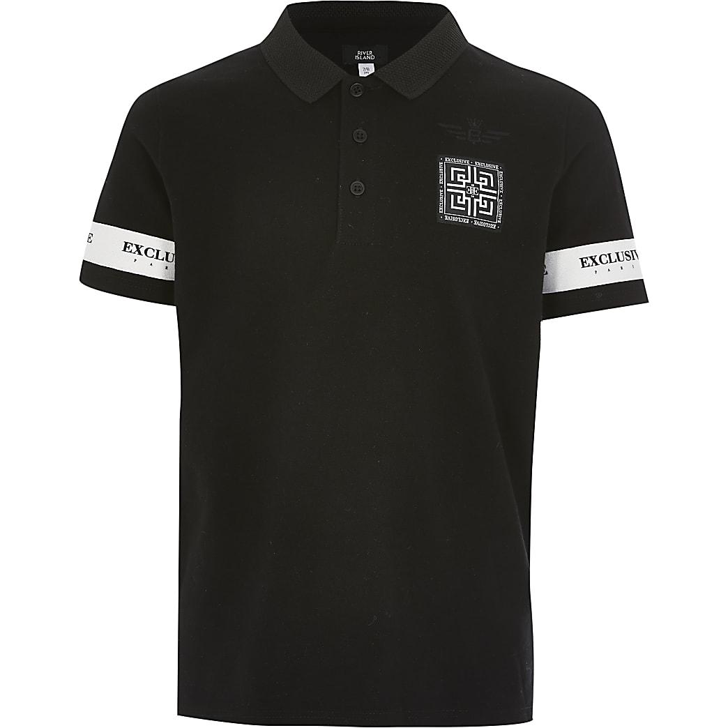 """Schwarzes Poloshirt mit """"Exclusive""""-Tape für Jungen"""