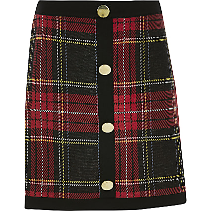 Girls red tartan A line skirt