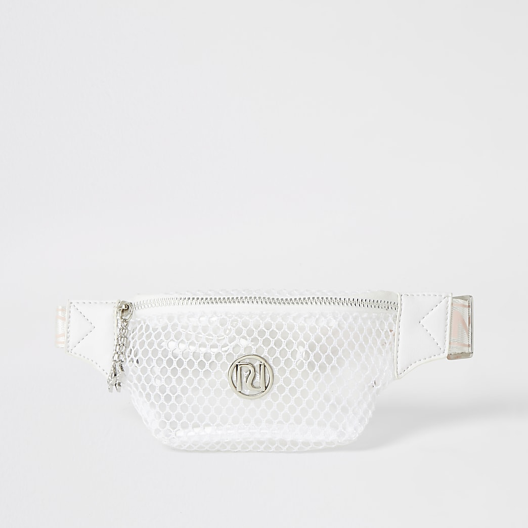 Girls white mesh RI bumbag