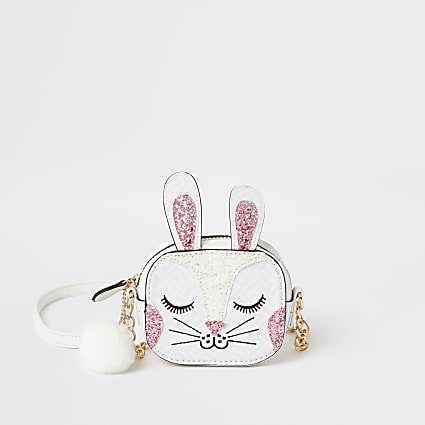 Girls white bunny embellished cross body bag