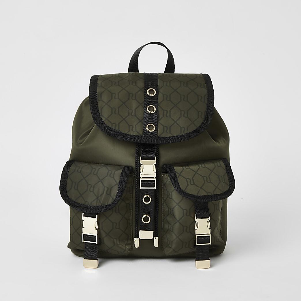 Girls khaki RI monogram utility backpack