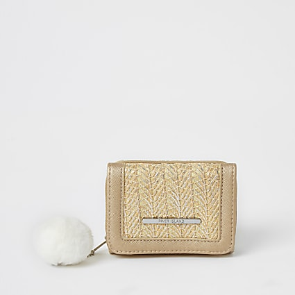 Girls cream metallic textured trifold purse