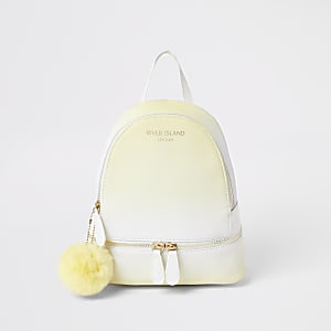 Girls yellow ombre faux fur pom pom backpack