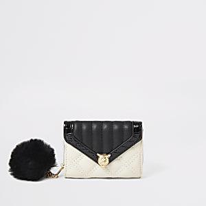 Crèmekleurige gestikte uitvouw portemonnee voor meisjes