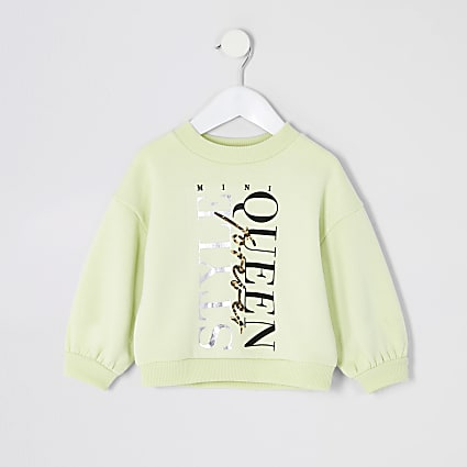 Mini girls yellow 'Style Queen' sweatshirt