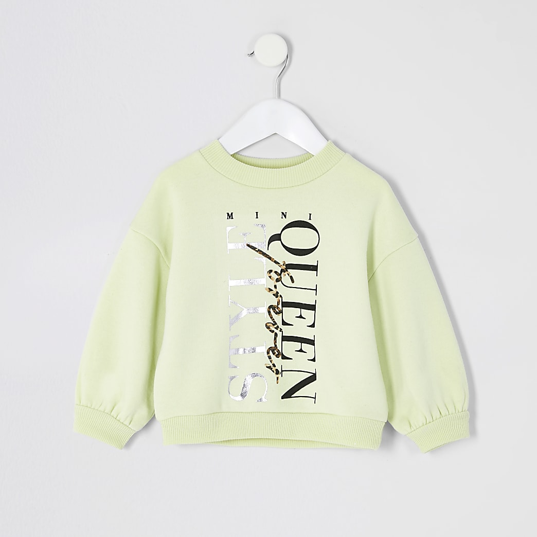 Mini girls yellow 'Style Queen' sweatshirt